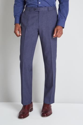 Moss Esq. Regular Fit Blue Sharkskin Trouser