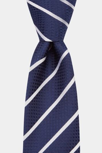 Navy & Silver Stripe Silk Tie