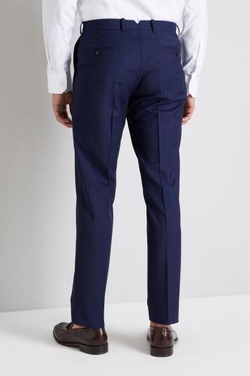 Moss 1851 Italian Tailored Fit Blue Broken Stripe Trouser