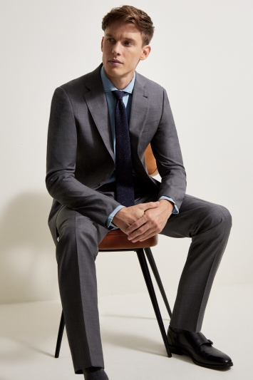 Ermenegildo Zegna Cloth Tailored Fit Grey Sharkskin Jacket