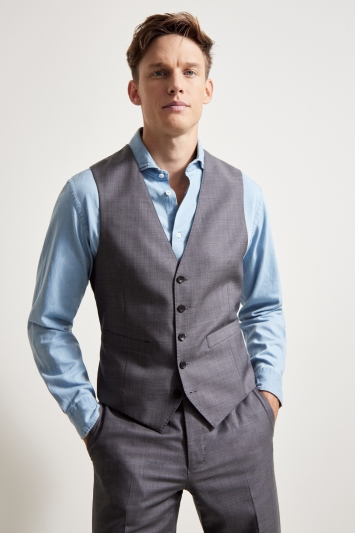 Ermenegildo Zegna Cloth Tailored Fit Grey Sharskin Waistcoat