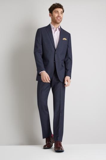 Moss Esq. Regular Fit Blue Marl Check Jacket