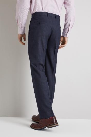 Moss Esq. Regular Fit Blue Marl Check Trouser