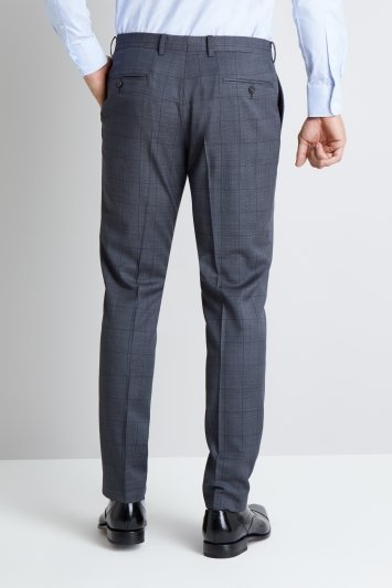 Moss 1851 Tailored Fit Charcoal Windowpane Trousers