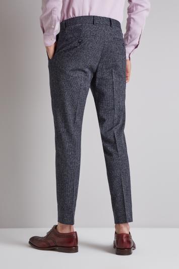 Moss London Skinny Fit Navy Seersucker Trousers