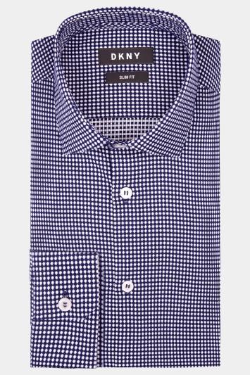 DKNY Slim Fit Navy Single Cuff Spot Shirt