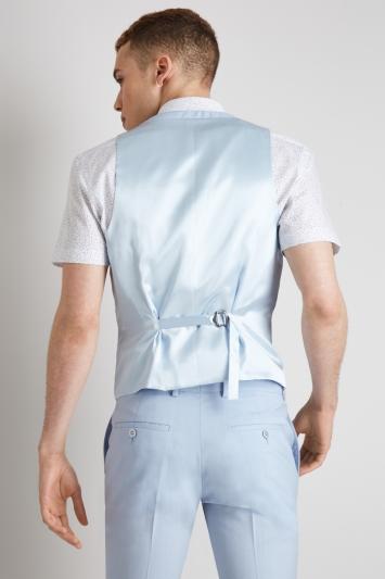 Moss London Skinny Fit Glacier Blue Waistcoat