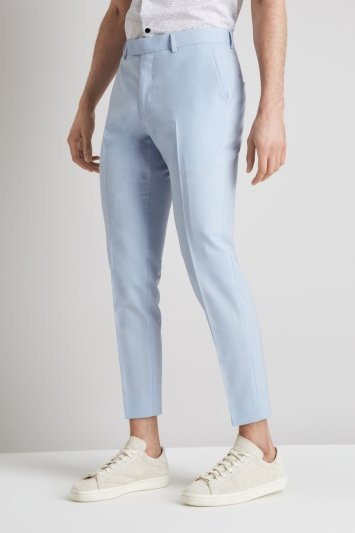 Moss Brand Skinny Fit Glacier Blue Cropped Trousers