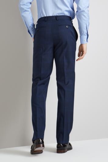 Moss Esq. Regular Fit Bright Blue Check Trousers