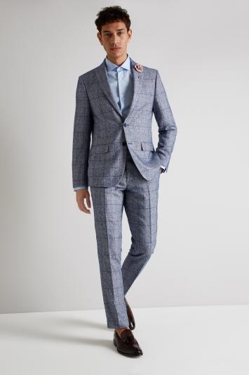 Moss London Skinny Fit Blue Boucle Check Jacket