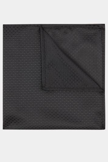 Moss London Black Textured Pocket Square