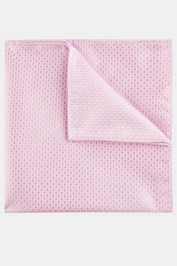 Moss London Baby Pink Textured Pocket Square