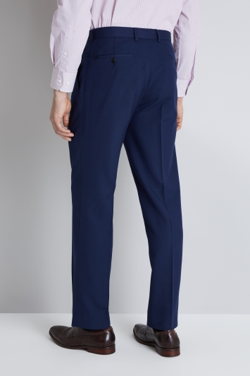 Moss Esq. Regular Fit Blue Hopsack Trouser