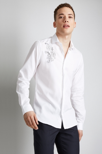 Moss London Extra Slim Fit White Single Cuff Floral Embroidered Shirt