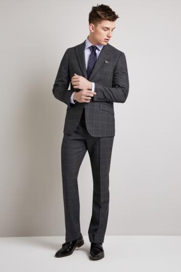 Hardy Amies Tailored Fit Grey Windowpane Jacket