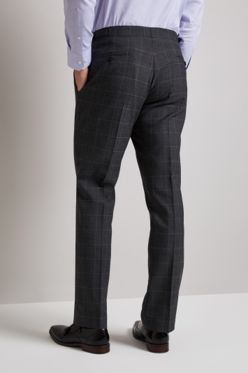 Hardy Amies Tailored Fit Grey Windowpane Trouser