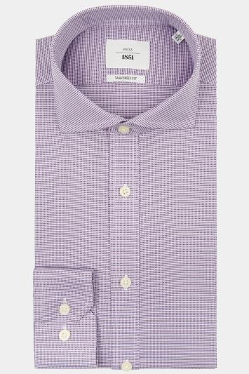 Moss 1851 Tailored Fit Purple Single Cuff Puppytooth Zero Iron Shirt