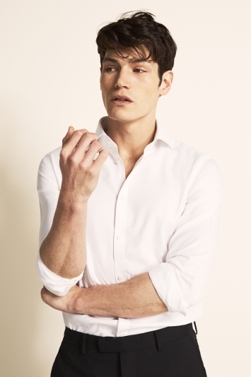 Moss London Premium Extra Slim Fit White Single Cuff Textured Zero Iron Shirt