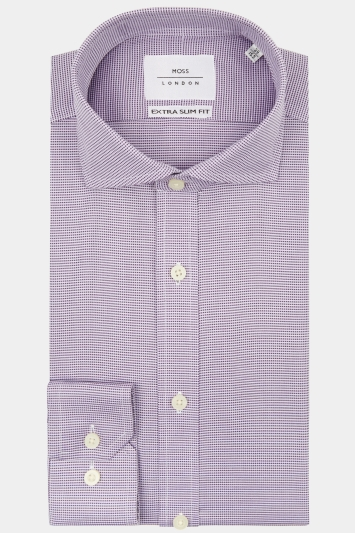 Moss London Premium Extra Slim Fit Purple Single Cuff Puppytooth Zero Iron Shirt