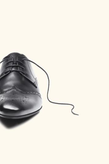 Moss London Lucan Black Brogue Shoe