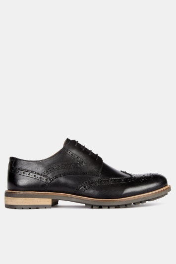 Moss London Bray Black Lightweight Brogue Shoe