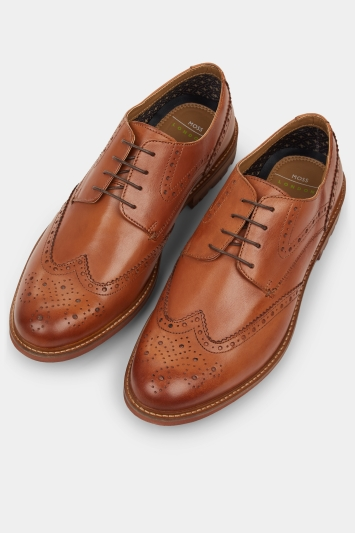 Moss London Bray Tan Lightweight Brogue Shoe