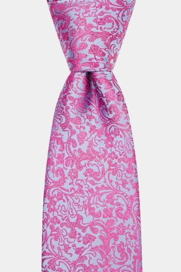 Moss 1851 Pink & Blue Floral Swirl Tie
