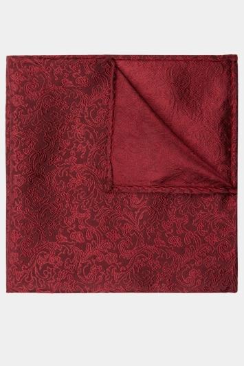 Wine Floral Silk Pocket Square