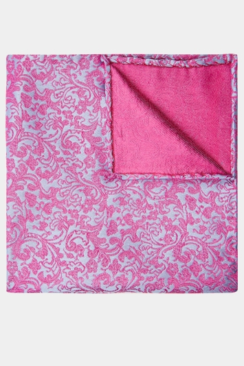Pink & Blue Floral Silk Pocket Square