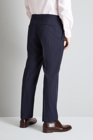 Moss Esq. Regular Fit Navy Stripe Trouser