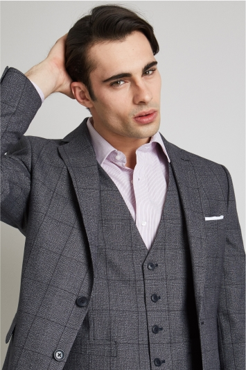 Moss Esq. Regular Fit Blue Prince of Wales Check Jacket