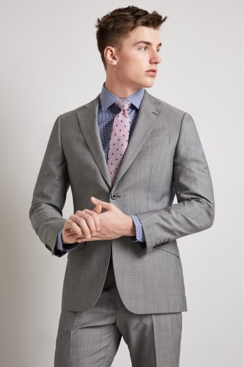 Hardy Amies Tailored Fit Light Grey Mohair Blend Suit Jacket