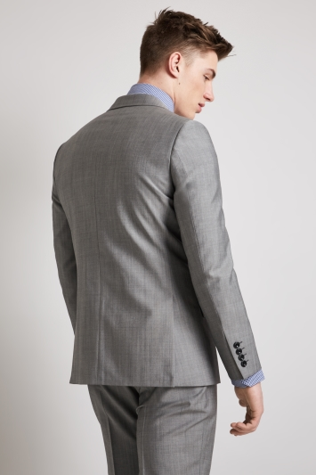 Hardy Amies Tailored Fit Light Grey Mohair Blend Jacket