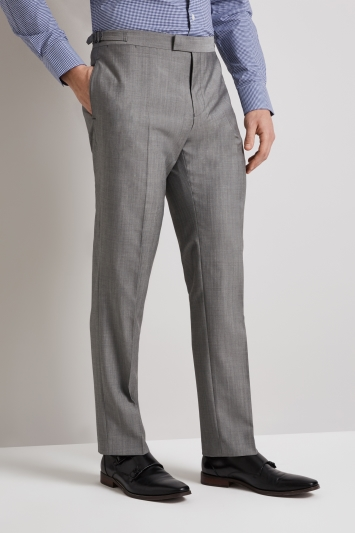 Hardy Amies Tailored Fit Light Grey Pindot Mohair Blend Trouser