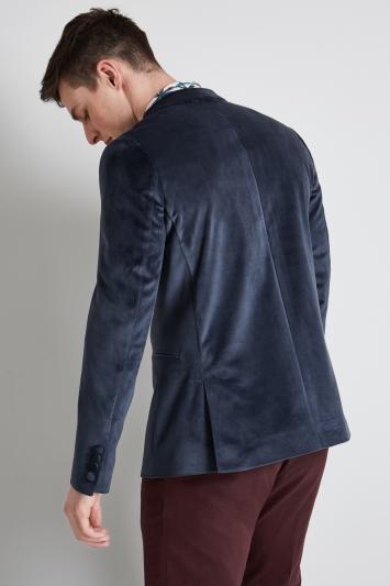 Moss London Skinny Fit Petrol Velvet Jacket