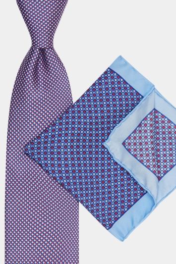 Moss Esq. Red & Blue Tie & Pocket Square Set