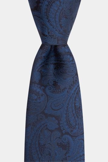 Moss 1851 Navy Paisley Tie