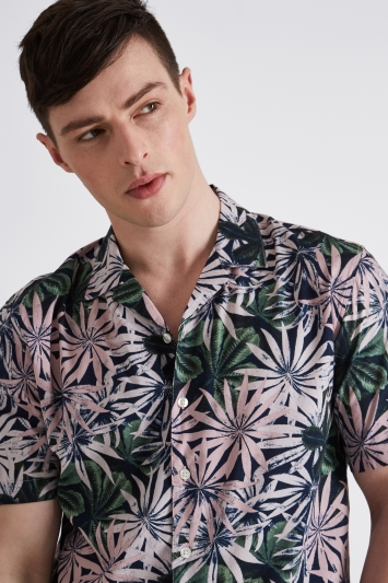 Moss London Extra Slim Fit Pink Short Sleeve Tropical Leaf Revere Collar Casual Shirt