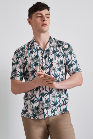Moss London Extra Slim Fit Pink & Green Short Sleeve Palm Print Revere Collar Casual Shirt