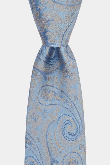 Moss 1851 Sky & Gold Paisley Tie