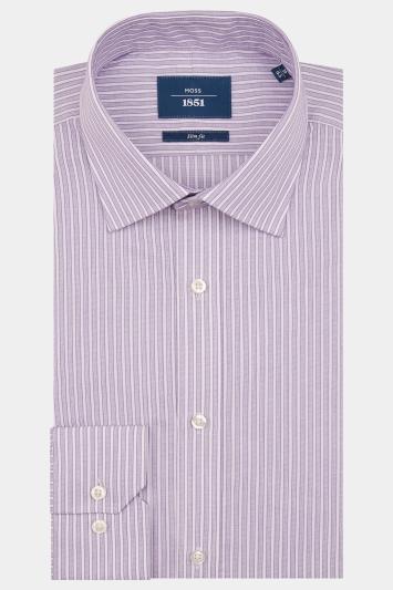 Moss 1851 Slim Fit Lilac Single Cuff Stripe Shirt