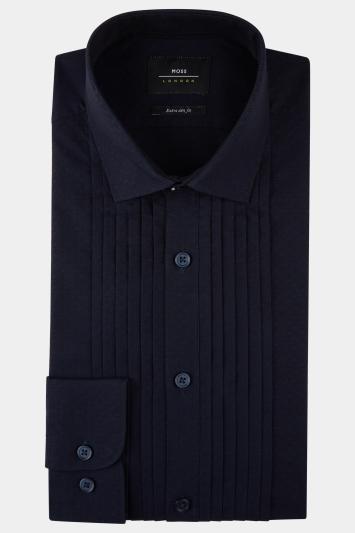 Moss London Premium Extra Slim Fit Navy Single Cuff Pleated Dobby Dress Shirt