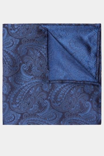 Navy Paisley Silk Pocket Square