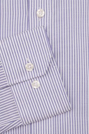 Moss 1851 Slim Fit Blue Single Cuff Stripe Shirt