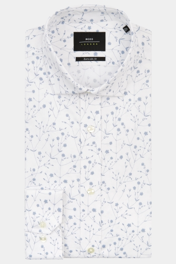 Moss London Premium Extra Slim Fit Grey Single Cuff Floral Shirt