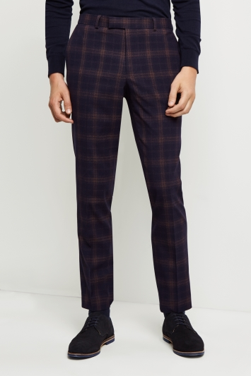Moss London Skinny Fit Navy Rust Check Trousers