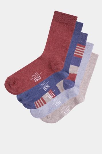 Moss 1851 Melange 5 Pack Cotton Blend Socks