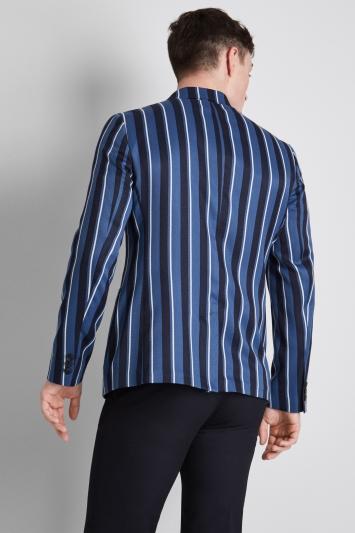Moss London Skinny Fit Azure Blue Navy Boat Stripe Jacket