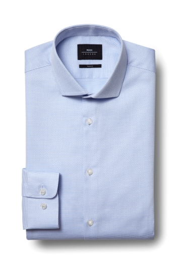 Slim Fit Sky Textured Stretch Shirt
