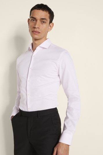 Slim Fit Pink Textured Stretch Shirt